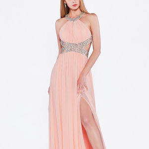 Jeweled Let Slit A-Line Long Evening Dress CDJ714